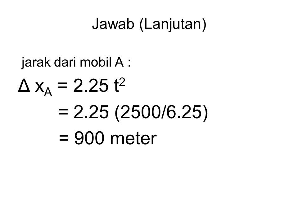 Jawab (Lanjutan) jarak dari mobil A : Δ x A = 2.25 t 2 = 2.25 (2500/6.25) = 900 meter