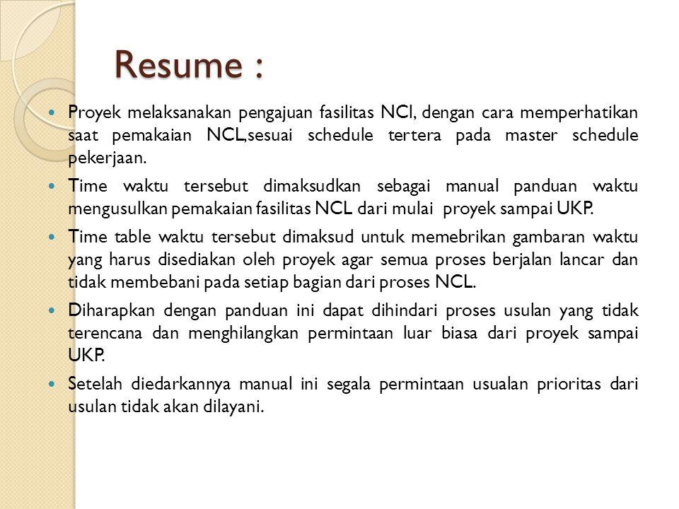 Resume :  Proyek melaksanakan pengajuan fasilitas NCl, dengan cara memperhatikan saat pemakaian NCL,sesuai schedule tertera pada master schedule peke
