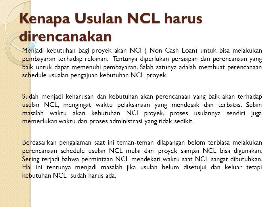 Kenapa Usulan NCL harus direncanakan Menjadi kebutuhan bagi proyek akan NCl ( Non Cash Loan) untuk bisa melakukan pembayaran terhadap rekanan. Tentuny