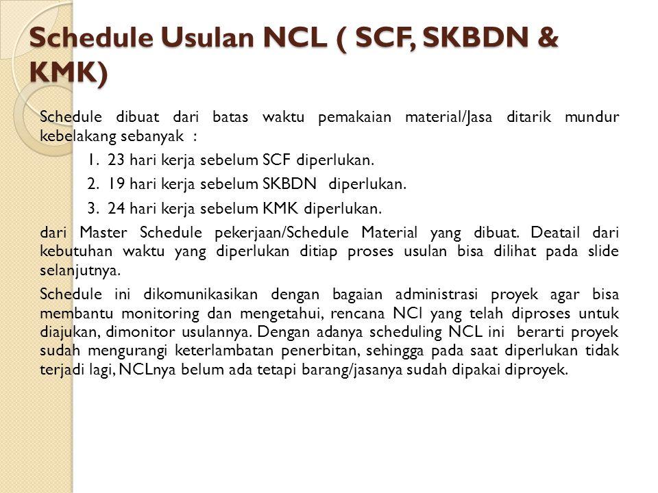 Schedule Usulan NCL ( SCF, SKBDN & KMK) Schedule dibuat dari batas waktu pemakaian material/Jasa ditarik mundur kebelakang sebanyak : 1. 23 hari kerja