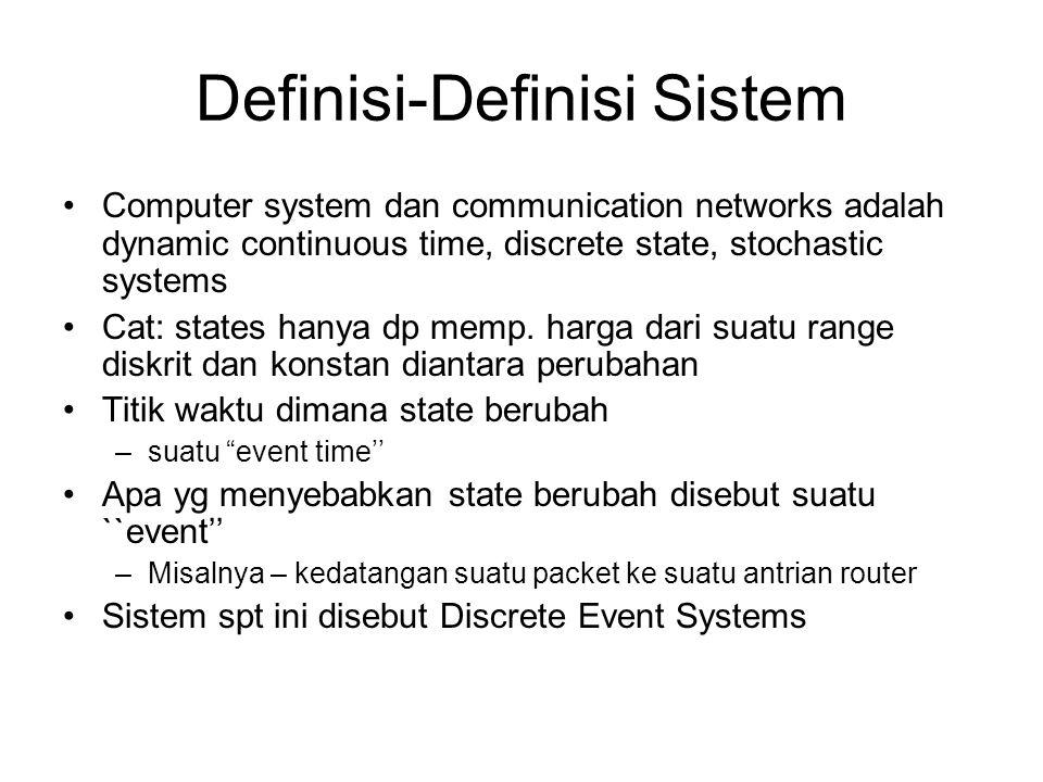 Simulasi Antrian M/M/1 •Model –IID Exponential interarrival time dg mean 1/  –IID Exponential service time dg mean 1/µ –Infinite buffer •Ingin mendapatkan mean customer delay dlm antrian –Solusi analitis  mean waiting time =  / (µ -  ) •Contoh code dlm bahasa C:
