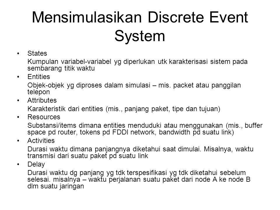 Common Features •Mengimplementasikan suatu discrete event simulation dg general purpose language dipermudah dg memp.