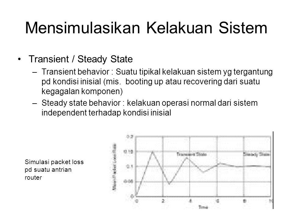 Pengukuran Performansi •Basis observasi –Delay dlm sistem  Response time –Delay dlm queue  Waiting time –dll,, –Statistik dicari dg standar sample mean, variance, dll….
