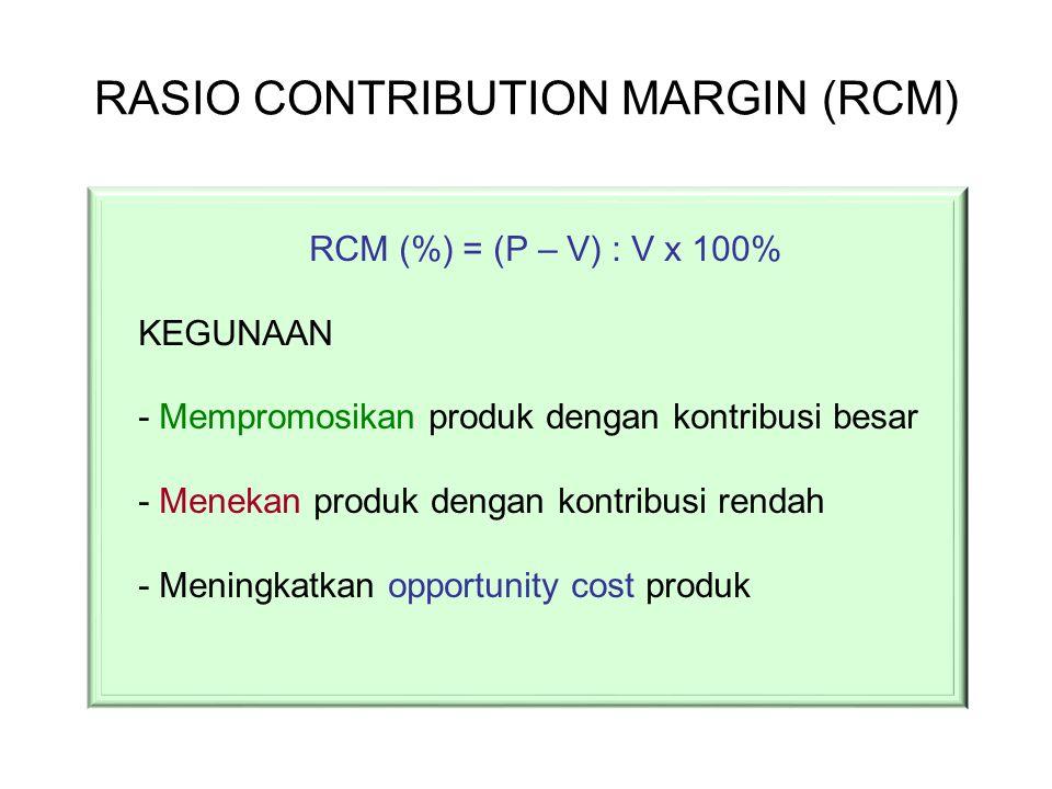 RASIO CONTRIBUTION MARGIN (RCM) RCM (%) = (P – V) : V x 100% KEGUNAAN - Mempromosikan produk dengan kontribusi besar - Menekan produk dengan kontribus