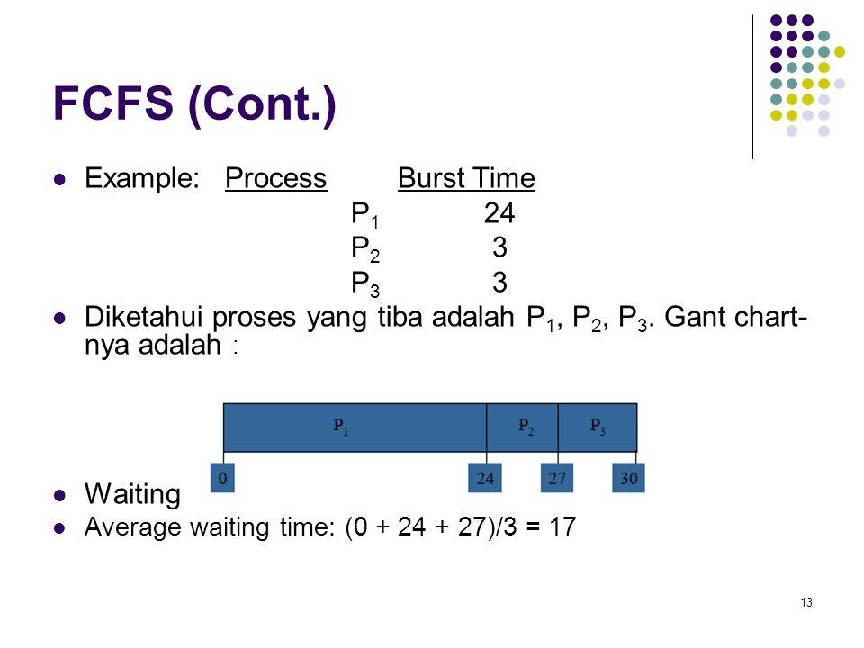 13 FCFS (Cont.)  Example: Process Burst Time P 1 24 P 2 3 P 3 3  Diketahui proses yang tiba adalah P 1, P 2, P 3. Gant chart- nya adalah :  Waiting