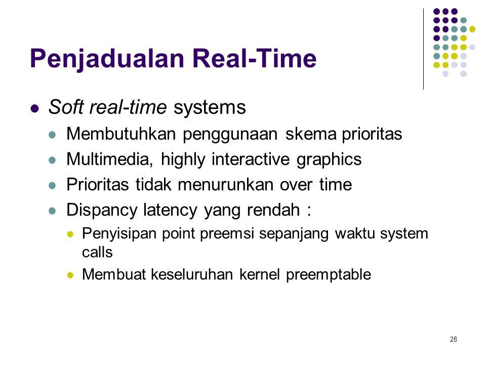 28 Penjadualan Real-Time  Soft real-time systems  Membutuhkan penggunaan skema prioritas  Multimedia, highly interactive graphics  Prioritas tidak