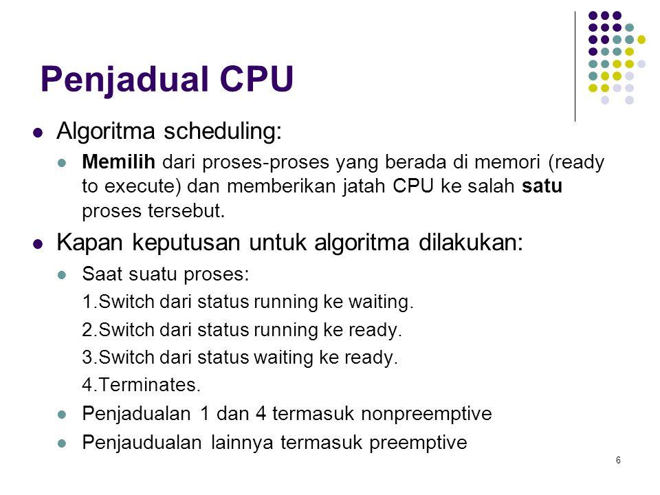 6 Penjadual CPU  Algoritma scheduling:  Memilih dari proses-proses yang berada di memori (ready to execute) dan memberikan jatah CPU ke salah satu p