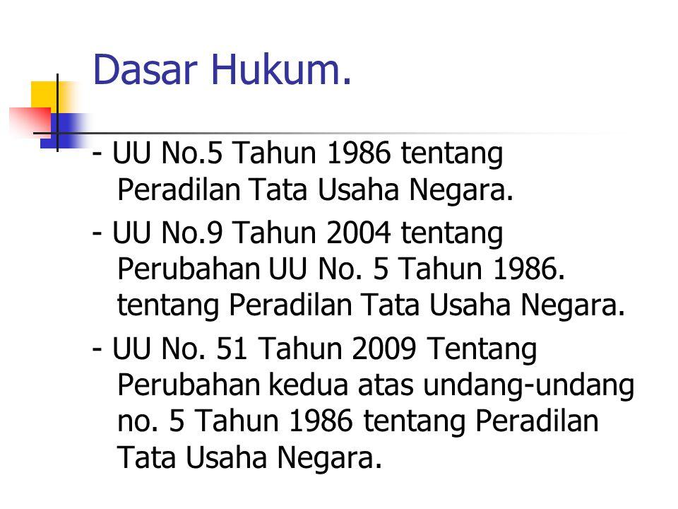 Dasar Hukum. - UU No.5 Tahun 1986 tentang Peradilan Tata Usaha Negara. - UU No.9 Tahun 2004 tentang Perubahan UU No. 5 Tahun 1986. tentang Peradilan T