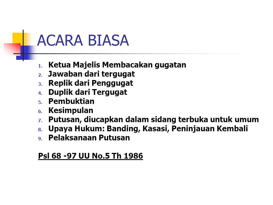 ACARA BIASA 1.Ketua Majelis Membacakan gugatan 2.