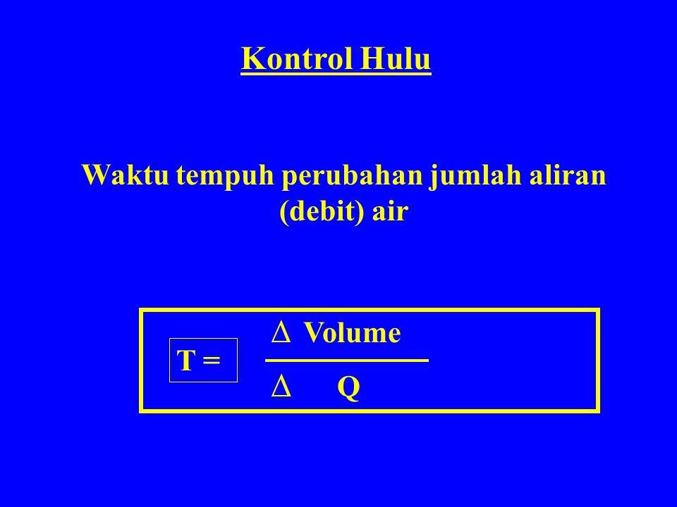 Δ Volume Δ Q Kontrol Hulu Waktu tempuh perubahan jumlah aliran (debit) air T =