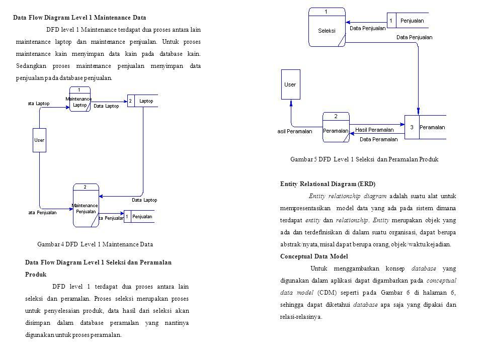 Data Flow Diagram Level 1 Maintenance Data DFD level 1 Maintenance terdapat dua proses antara lain maintenance laptop dan maintenance penjualan. Untuk