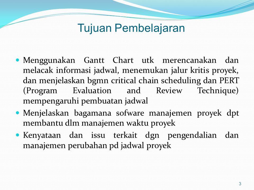  Menggunakan Gantt Chart utk merencanakan dan melacak informasi jadwal, menemukan jalur kritis proyek, dan menjelaskan bgmn critical chain scheduling