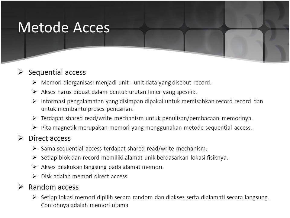 Metode Acces  Sequential access  Memori diorganisasi menjadi unit - unit data yang disebut record.  Akses harus dibuat dalam bentuk urutan linier y