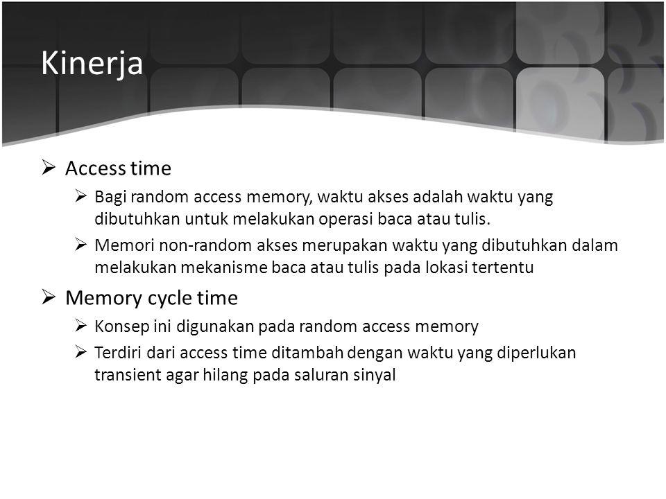 Kinerja  Access time  Bagi random access memory, waktu akses adalah waktu yang dibutuhkan untuk melakukan operasi baca atau tulis.  Memori non-rand