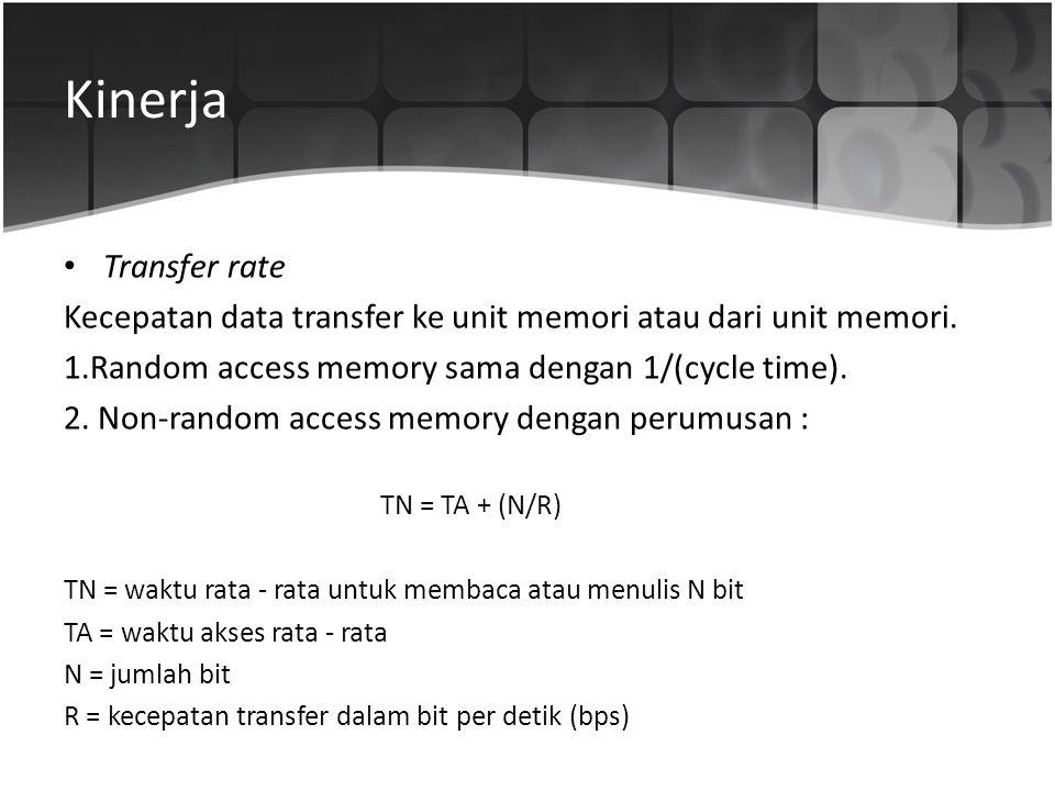 Kinerja • Transfer rate Kecepatan data transfer ke unit memori atau dari unit memori. 1.Random access memory sama dengan 1/(cycle time). 2. Non-random
