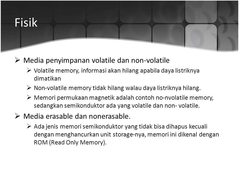 Fisik  Media penyimpanan volatile dan non-volatile  Volatile memory, informasi akan hilang apabila daya listriknya dimatikan  Non-volatile memory t