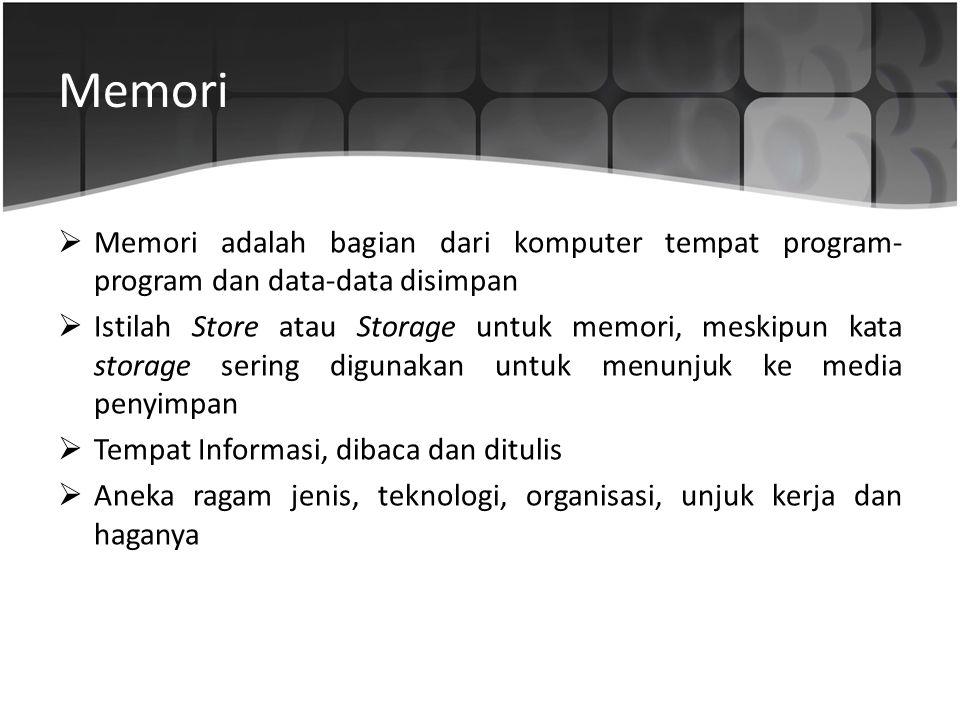 Memori  Memori adalah bagian dari komputer tempat program- program dan data-data disimpan  Istilah Store atau Storage untuk memori, meskipun kata st