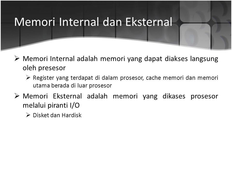 Memori Internal dan Eksternal  Memori Internal adalah memori yang dapat diakses langsung oleh presesor  Register yang terdapat di dalam prosesor, ca