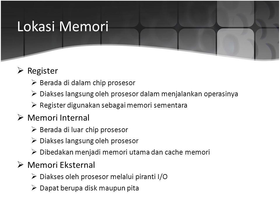 Lokasi Memori  Register  Berada di dalam chip prosesor  Diakses langsung oleh prosesor dalam menjalankan operasinya  Register digunakan sebagai me
