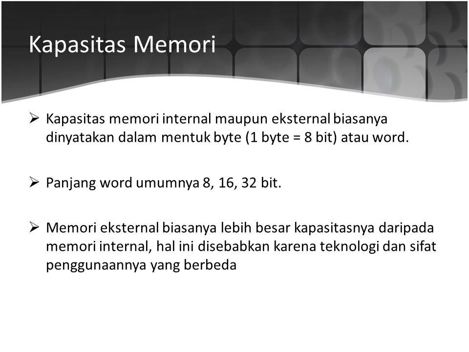 Kapasitas Memori  Kapasitas memori internal maupun eksternal biasanya dinyatakan dalam mentuk byte (1 byte = 8 bit) atau word.  Panjang word umumnya