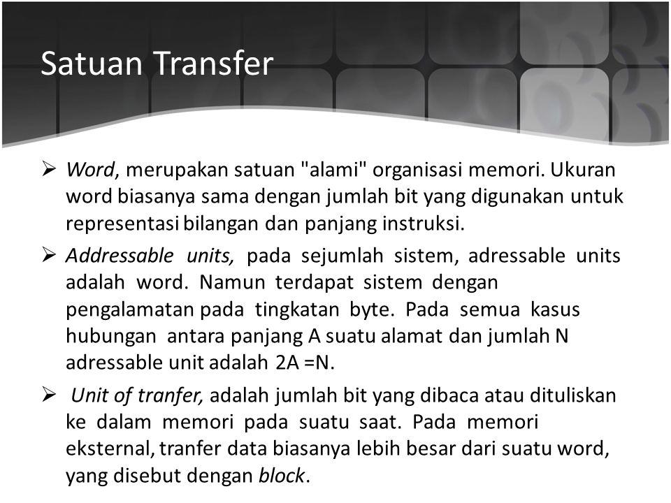 Satuan Transfer  Word, merupakan satuan