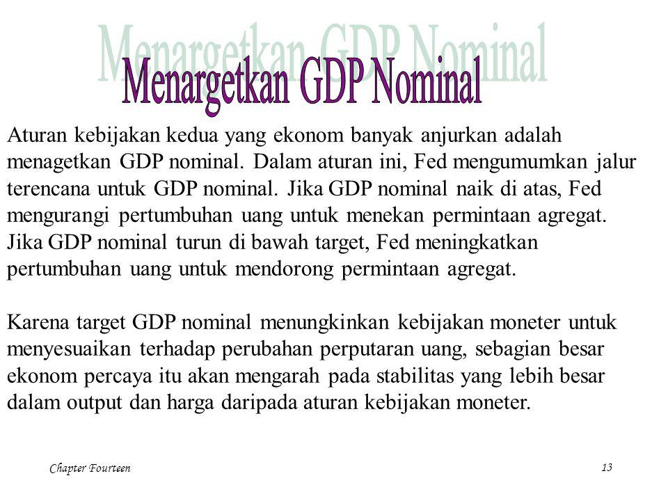 Chapter Fourteen13 Aturan kebijakan kedua yang ekonom banyak anjurkan adalah menagetkan GDP nominal. Dalam aturan ini, Fed mengumumkan jalur terencana