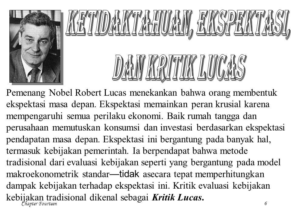 Chapter Fourteen6 Pemenang Nobel Robert Lucas menekankan bahwa orang membentuk ekspektasi masa depan. Ekspektasi memainkan peran krusial karena mempen