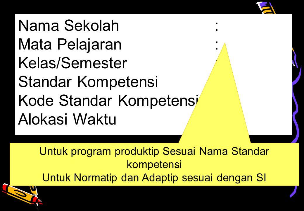 Nama Sekolah: Mata Pelajaran: Kelas/Semester: Standar Kompetensi: Kode Standar Kompetensi: Alokasi Waktu : Untuk program produktip Sesuai Nama Standar