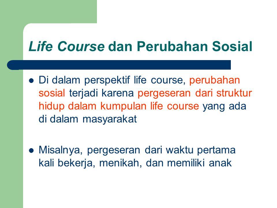 Life Course dan Perubahan Sosial  Di dalam perspektif life course, perubahan sosial terjadi karena pergeseran dari struktur hidup dalam kumpulan life course yang ada di dalam masyarakat  Misalnya, pergeseran dari waktu pertama kali bekerja, menikah, dan memiliki anak