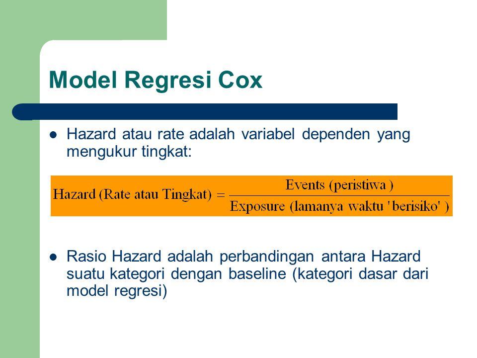Model Regresi Cox  Hazard atau rate adalah variabel dependen yang mengukur tingkat:  Rasio Hazard adalah perbandingan antara Hazard suatu kategori dengan baseline (kategori dasar dari model regresi)