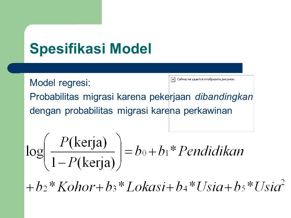 Model regresi: Probabilitas migrasi karena pekerjaan dibandingkan dengan probabilitas migrasi karena perkawinan Spesifikasi Model