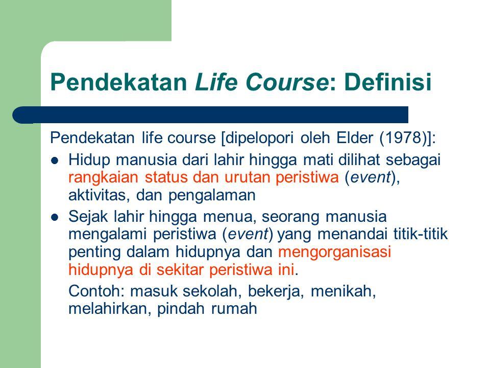 Pendekatan Life Course: Definisi Pendekatan life course [dipelopori oleh Elder (1978)]:  Hidup manusia dari lahir hingga mati dilihat sebagai rangkaian status dan urutan peristiwa (event), aktivitas, dan pengalaman  Sejak lahir hingga menua, seorang manusia mengalami peristiwa (event) yang menandai titik-titik penting dalam hidupnya dan mengorganisasi hidupnya di sekitar peristiwa ini.