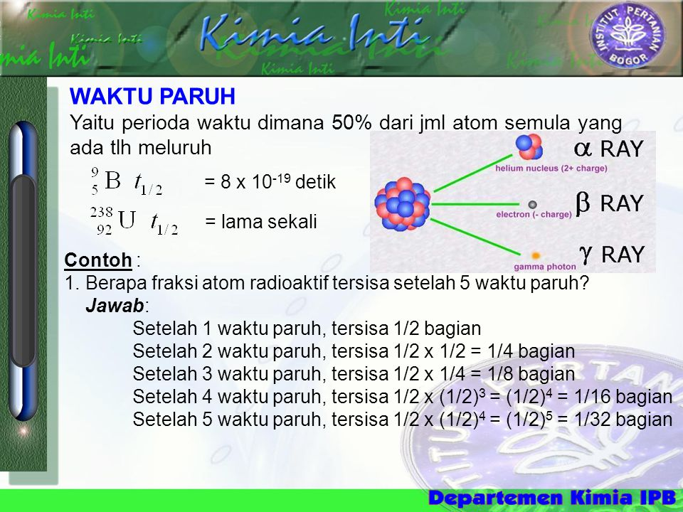  Tritium (t 1/2 =5730 thn) Utk penentukan umur benda sampai 100 thn Isotop T 1/2 (tahun) Selang umur yg diukur Penerapan 14 C5730500-50000 thn Batubara, bhn organik 3H3H12,31-100 thnAnggur tua 40 K1,3 x 10 9 10000 thn – contoh bumi tertua Batuan, kerak bumi 187 Rh4,3 x 10 9 4 x 10 7 thn – contoh tertetua di dunia Meteorit 238 U4,5 x 10 9 10 7 - contoh tertuaBatuan, kerak bumi