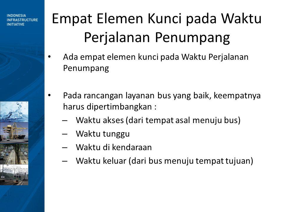 Empat Elemen Kunci pada Waktu Perjalanan Penumpang • Ada empat elemen kunci pada Waktu Perjalanan Penumpang • Pada rancangan layanan bus yang baik, keempatnya harus dipertimbangkan : – Waktu akses (dari tempat asal menuju bus) – Waktu tunggu – Waktu di kendaraan – Waktu keluar (dari bus menuju tempat tujuan)