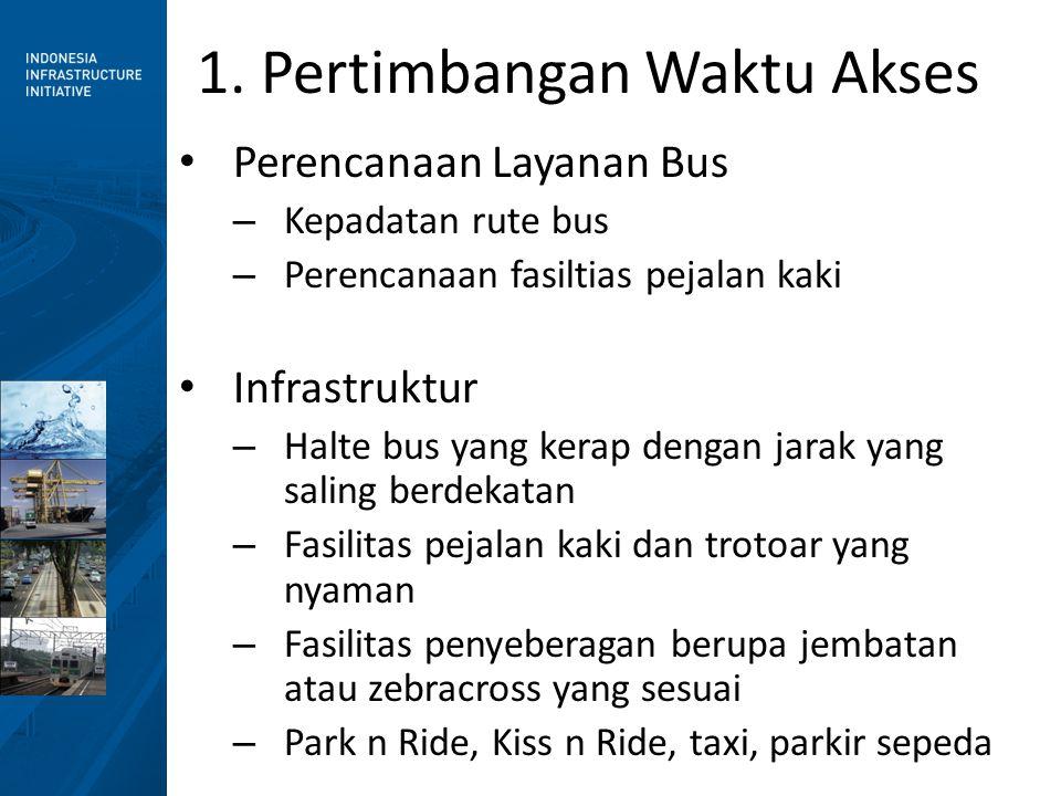 1. Pertimbangan Waktu Akses • Perencanaan Layanan Bus – Kepadatan rute bus – Perencanaan fasiltias pejalan kaki • Infrastruktur – Halte bus yang kerap