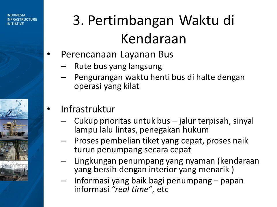 3. Pertimbangan Waktu di Kendaraan • Perencanaan Layanan Bus – Rute bus yang langsung – Pengurangan waktu henti bus di halte dengan operasi yang kilat
