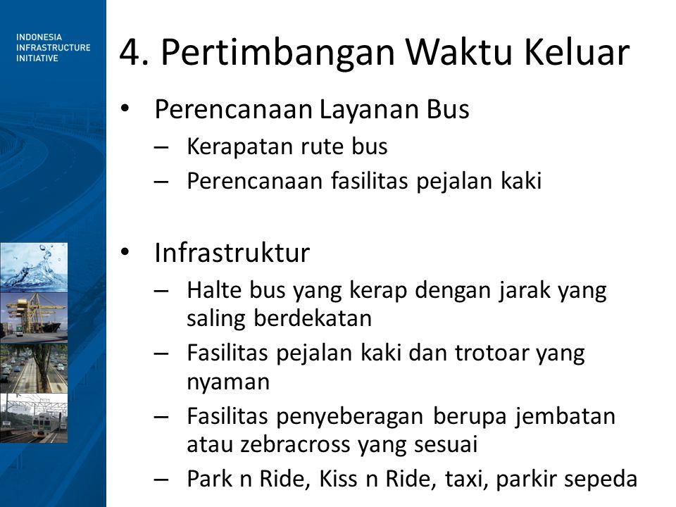 4. Pertimbangan Waktu Keluar • Perencanaan Layanan Bus – Kerapatan rute bus – Perencanaan fasilitas pejalan kaki • Infrastruktur – Halte bus yang kera