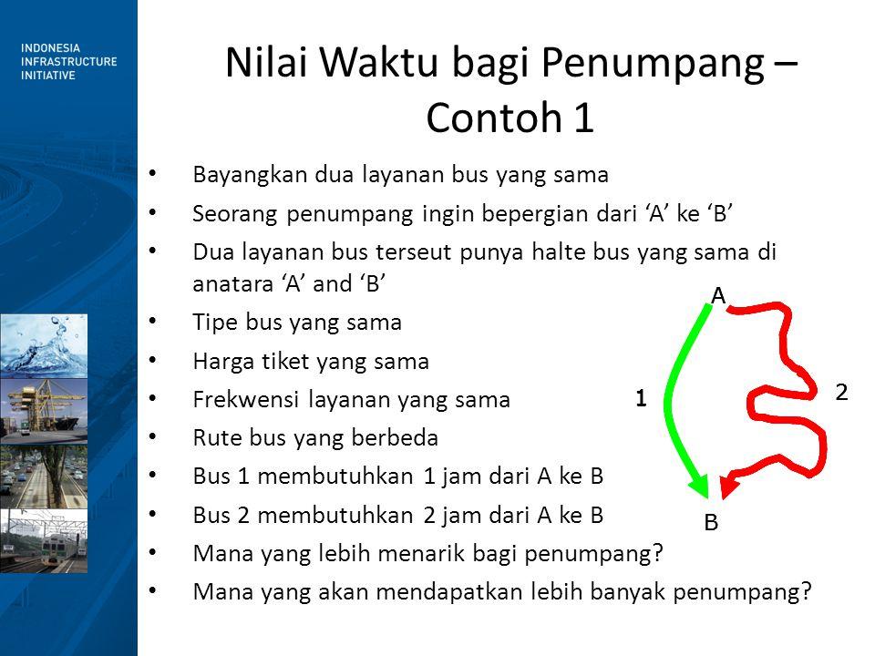 Nilai Waktu bagi Penumpang – Contoh 1 • Bayangkan dua layanan bus yang sama • Seorang penumpang ingin bepergian dari 'A' ke 'B' • Dua layanan bus terseut punya halte bus yang sama di anatara 'A' and 'B' • Tipe bus yang sama • Harga tiket yang sama • Frekwensi layanan yang sama • Rute bus yang berbeda • Bus 1 membutuhkan 1 jam dari A ke B • Bus 2 membutuhkan 2 jam dari A ke B • Mana yang lebih menarik bagi penumpang.