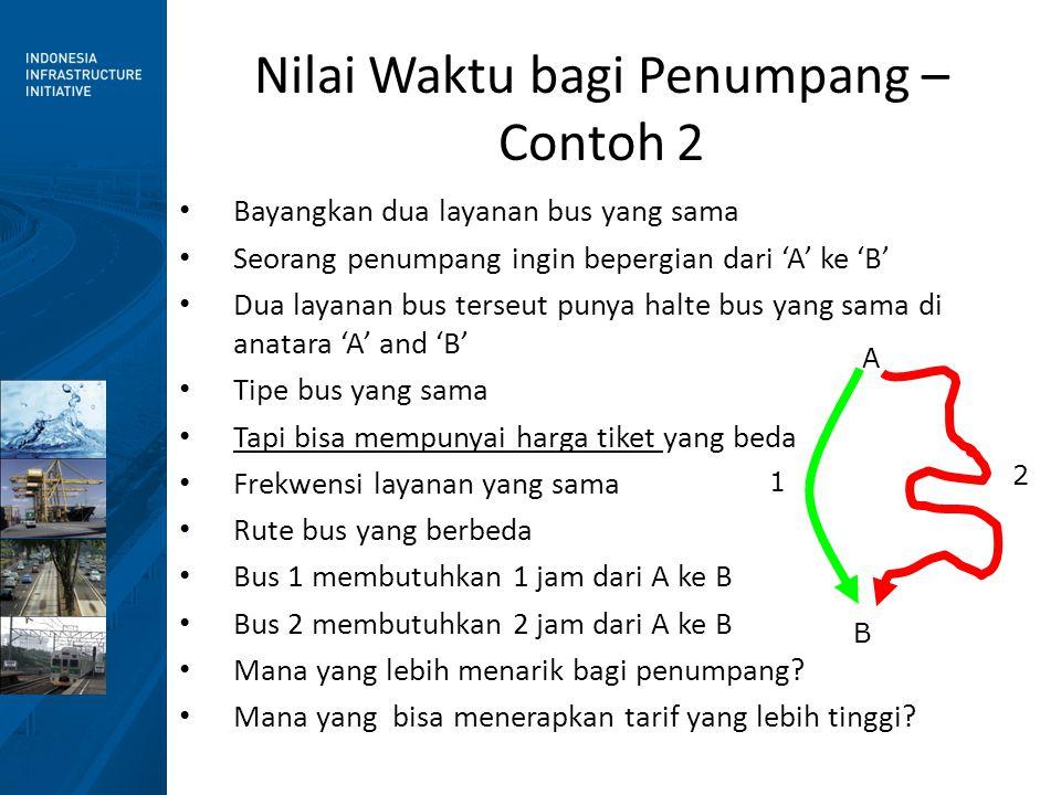 Nilai Waktu bagi Penumpang – Contoh 3 • Bayangkan dua layanan bus yang sama • Seorang penumpang ingin bepergian dari 'A' ke 'B' • Dua layanan bus terseut punya halte bus yang sama di anatara 'A' and 'B' • Tipe bus yang sama • Harga tiket yang sama • Rute bus yang sama • Tapi berbeda frekwensinya • Bus 1 beroperasi tiap 15 minutes • Bus 1 beroperasi tiap 30 minutes • Mana yang lebih menarik bagi penumpang.