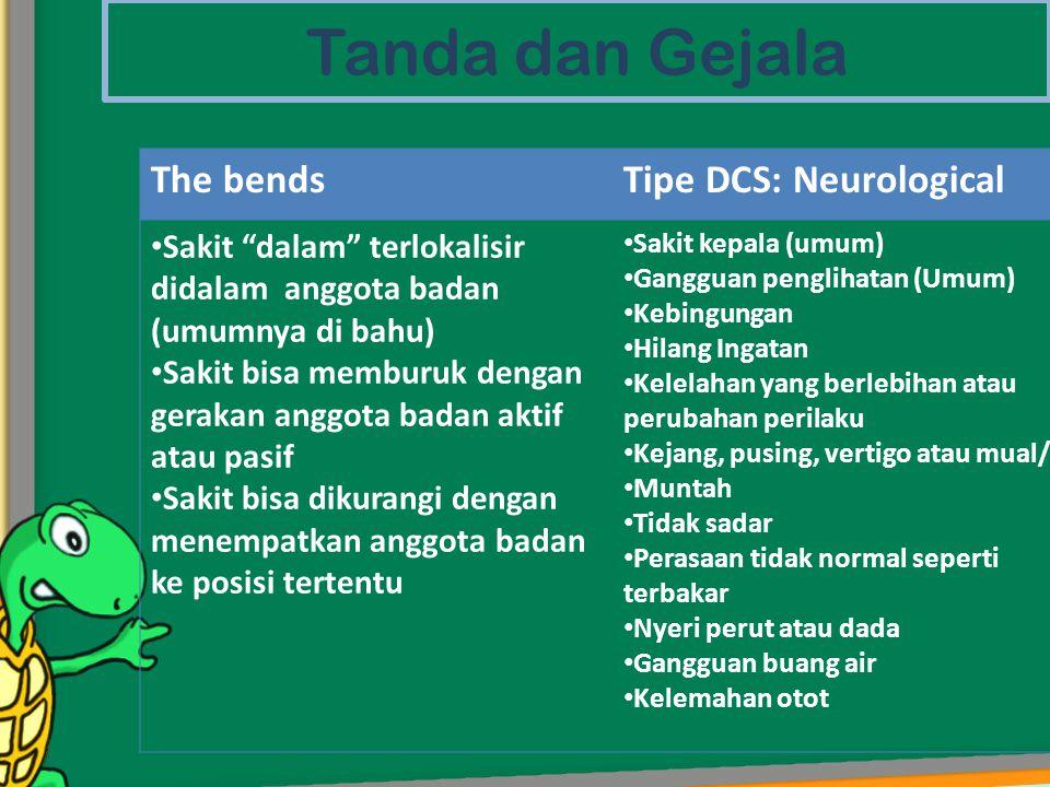 """Tanda dan Gejala The bendsTipe DCS: Neurological • Sakit """"dalam"""" terlokalisir didalam anggota badan (umumnya di bahu) • Sakit bisa memburuk dengan ger"""