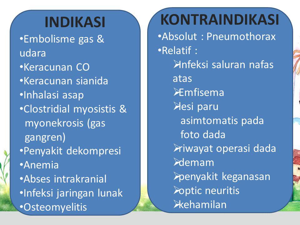 INDIKASI • Embolisme gas & udara • Keracunan CO • Keracunan sianida • Inhalasi asap • Clostridial myosistis & myonekrosis (gas gangren) • Penyakit dek