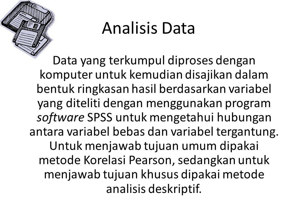 Analisis Data Data yang terkumpul diproses dengan komputer untuk kemudian disajikan dalam bentuk ringkasan hasil berdasarkan variabel yang diteliti de