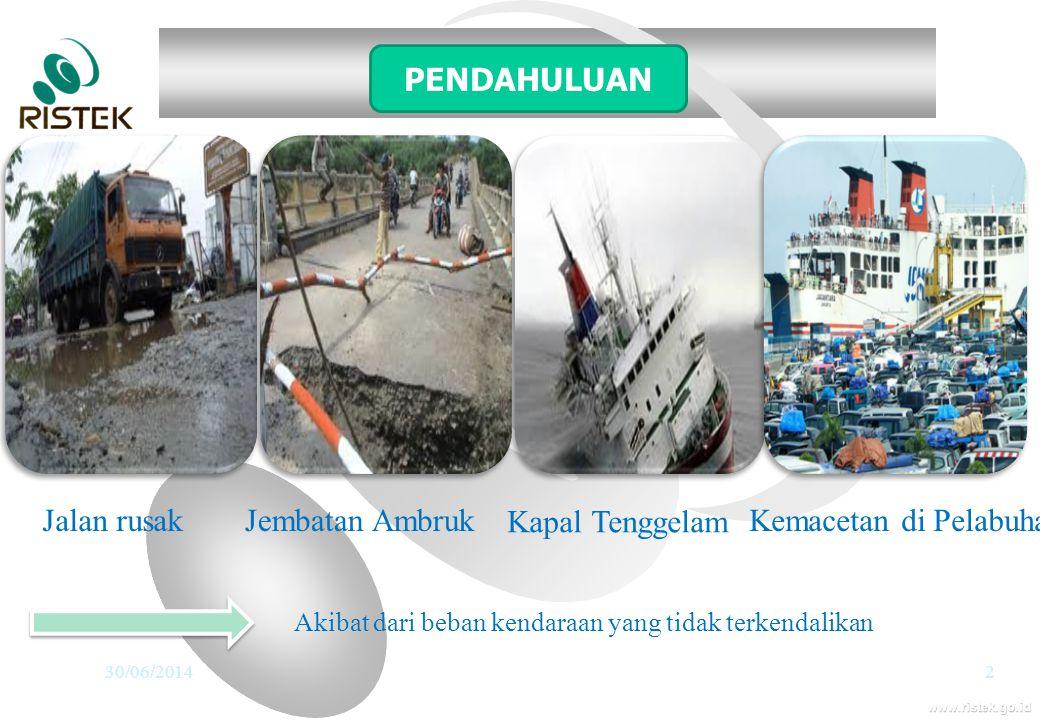 www.ristek.go.id 30/06/20142 Jalan rusakJembatan Ambruk Kapal Tenggelam Kemacetan di Pelabuhan PENDAHULUAN Akibat dari beban kendaraan yang tidak terk