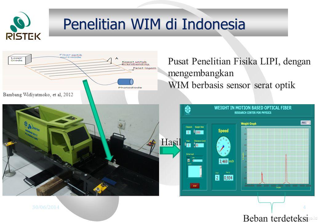 www.ristek.go.id Penelitian WIM di Indonesia 30/06/20144 Pusat Penelitian Fisika LIPI, dengan mengembangkan WIM berbasis sensor serat optik Beban terdeteksi Hasil Bambang Widiyatmoko, et al, 2012