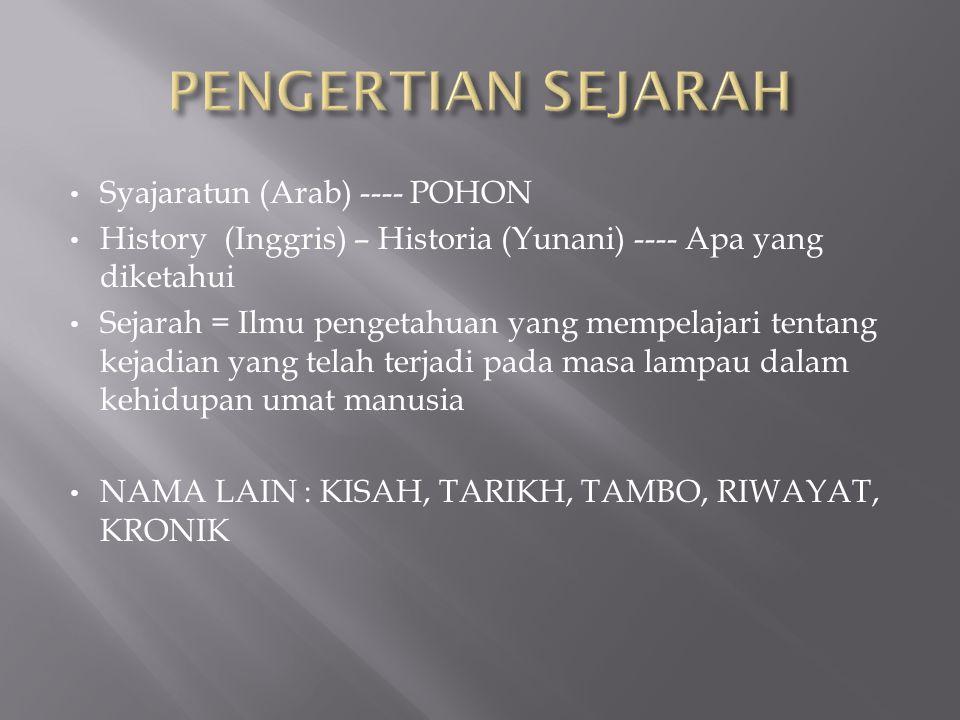 • Syajaratun (Arab) ---- POHON • History (Inggris) – Historia (Yunani) ---- Apa yang diketahui • Sejarah = Ilmu pengetahuan yang mempelajari tentang k