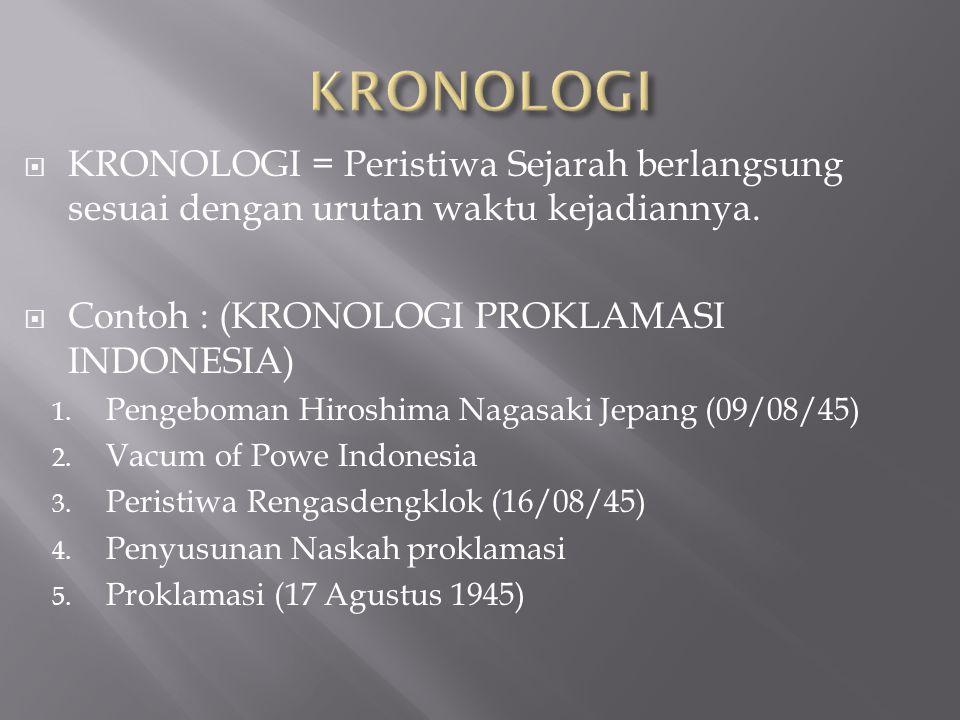  KRONOLOGI = Peristiwa Sejarah berlangsung sesuai dengan urutan waktu kejadiannya.  Contoh : (KRONOLOGI PROKLAMASI INDONESIA) 1. Pengeboman Hiroshim