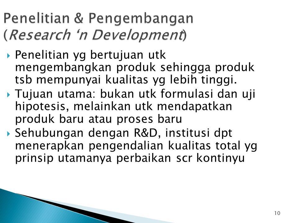 10 Penelitian & Pengembangan (Research 'n Development)  Penelitian yg bertujuan utk mengembangkan produk sehingga produk tsb mempunyai kualitas yg le