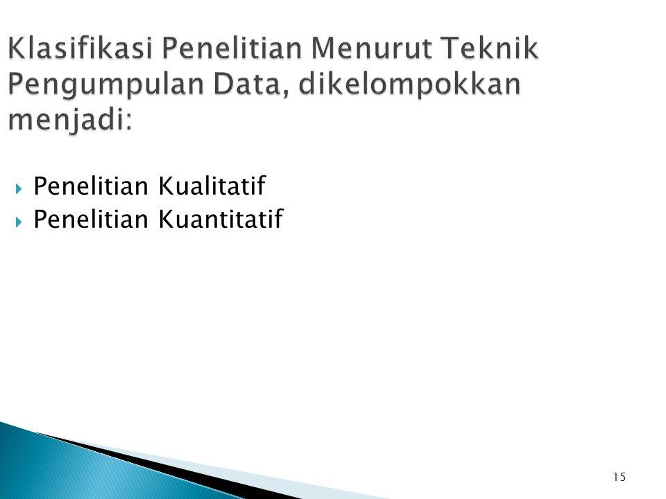 15 Klasifikasi Penelitian Menurut Teknik Pengumpulan Data, dikelompokkan menjadi:  Penelitian Kualitatif  Penelitian Kuantitatif