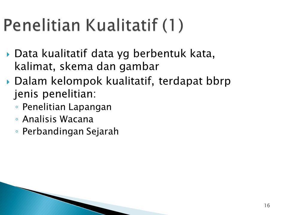 16 Penelitian Kualitatif (1)  Data kualitatif data yg berbentuk kata, kalimat, skema dan gambar  Dalam kelompok kualitatif, terdapat bbrp jenis pene