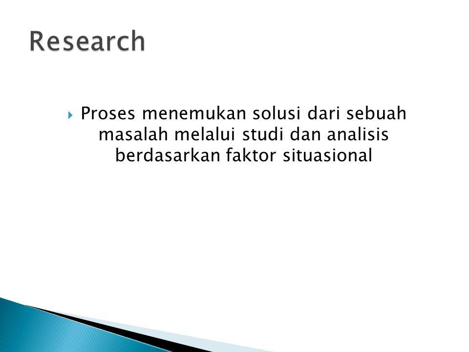  Proses menemukan solusi dari sebuah masalah melalui studi dan analisis berdasarkan faktor situasional